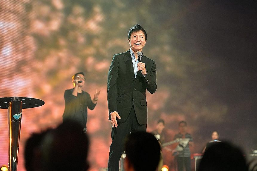 At the City Harvest Church service yesterday, Pastor Kong Hee (above) acknowledged his worshippers' pain and thanked them for being there for him and the other five church leaders who were sentenced.