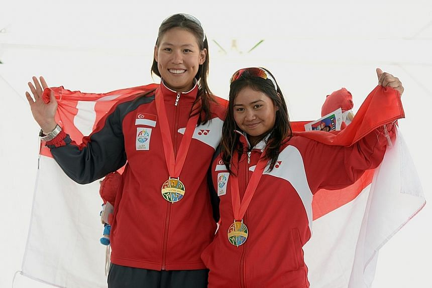 Singapore's Griselda Khng (right) and Sara Tan won gold at the women's skiff 49erFX event at the 28th Sea Games 2015. Their fine form continued in Buenos Aires when they finished 13th out of 44 boats.