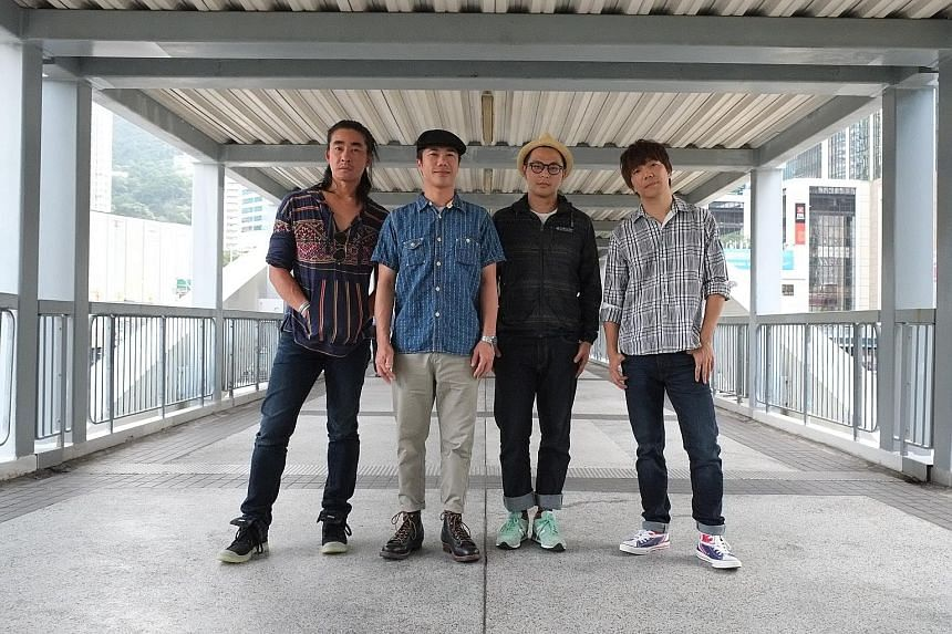 RubberBand's members (from left) Clement Fung, Lai Man Wang, Mau Hou Cheong and Lee Sin Wai. They sing about issues such as rising rentals and the loss of local culture.