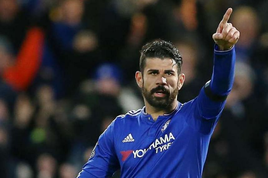 Costa celebrates after scoring his team's first goal.