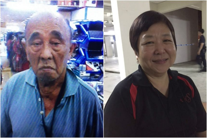 Mr William Wong (left), 76, died after an alleged dispute with his tenant. His widow, Madam Winnie Teo, saw the police tape when she returned, but did not realise at first that her husband had died.