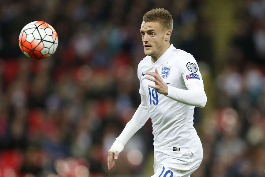 Jamie Vardy in action for England in October 2015.