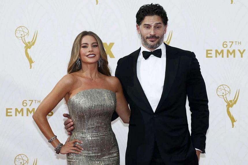 Sofia Vergara and Joe Manganiello at the 67th Primetime Emmy Awards in Los Angeles, Sept 21, 2015.