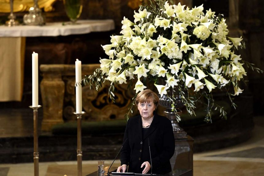 German Chancellor Angela Merkel during the state funeral ceremony for late former West German chancellor Helmut Schmidt on Nov 23, 2015.
