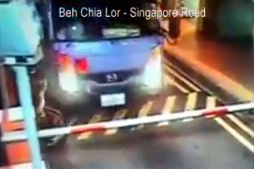 The lorry running over the motorcyclist at the Toa Payoh carpark's exit gantry