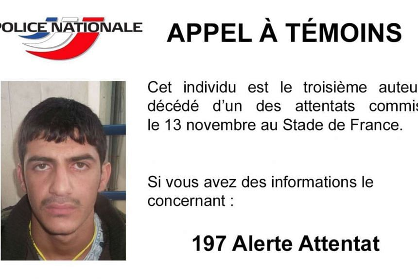 French Police released this picture of the third suicide bomber of the attacks at the Stade de France on Nov 13.