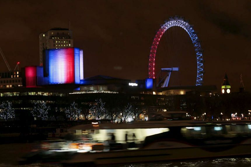 London theatres were lit up the national colours of France after the attacks in Paris.