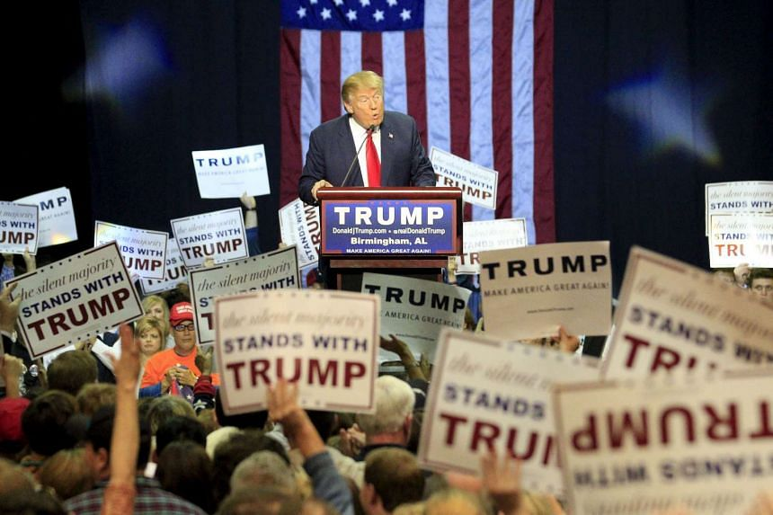 US Republican presidential candidate Donald Trump speaks at a rally in Birmingham, Alabama on Saturday.