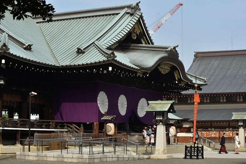 The ceiling and wall of a public bathroom south of the Yasukuni Shrine was damaged by an apparent explosion.