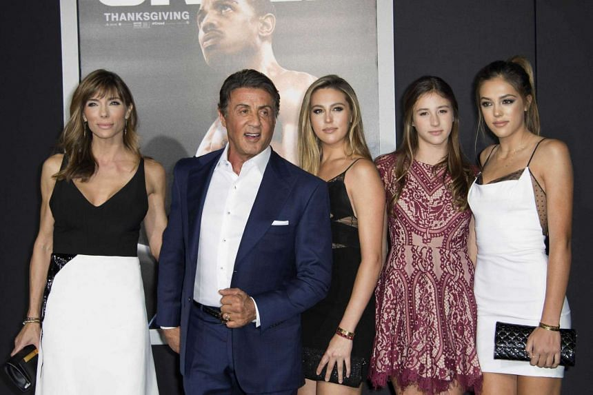 Sylvester Stallone's gorgeous girls stole the show at the Los Angeles premiere of the new Rocky movie, Creed, last Thursday. (From centre to right) Sophia, 19, Scarlet, 13, and Sistine, 17, are the daughters of the 69-year-old star and his third wi