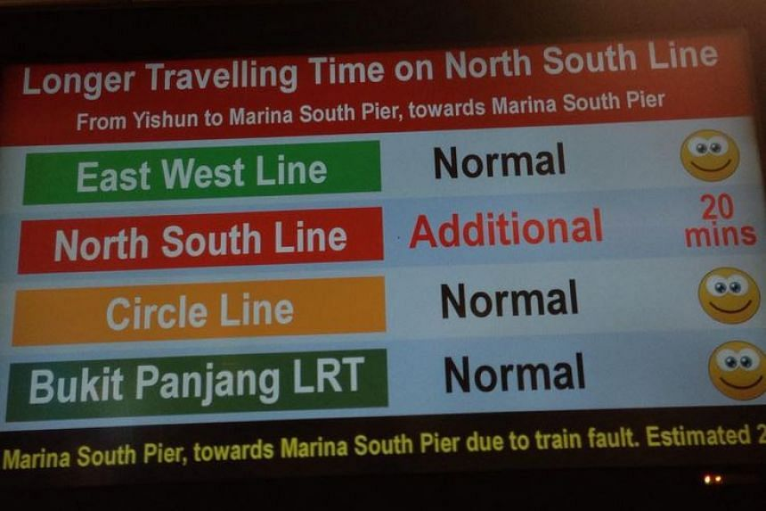 A display announcing the train fault on the North-South Line on Nov 23, 2015.