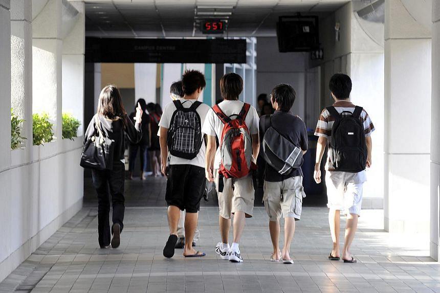 Nanyang Polytechnic students at their campus in Yio Chu Kang.