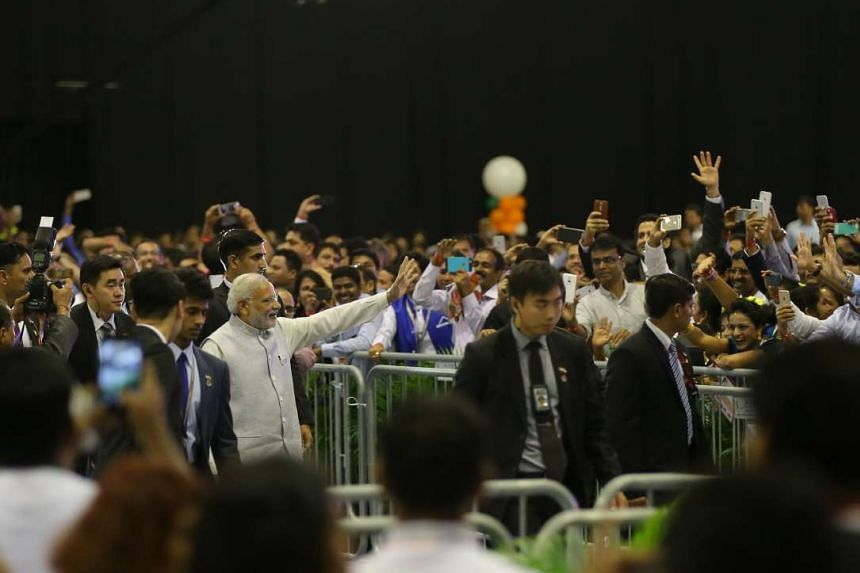 Prime Minister Narendra Modi attends a private Indian diaspora event at Spore Expo Hall 1 and 2.