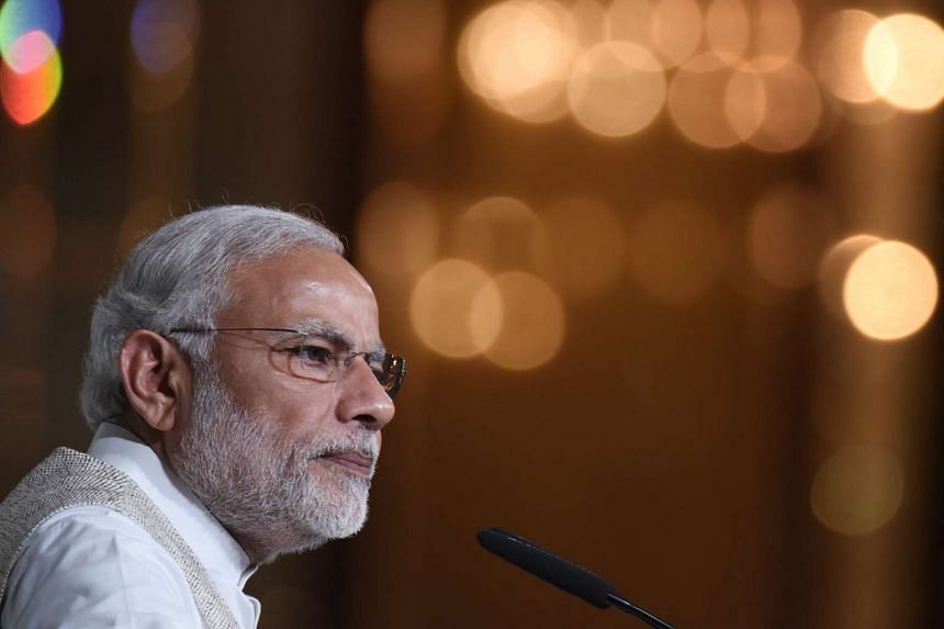 Indian Prime Minister Narendra Modi speaks at the 37th Singapore Lecture held at the Shangri-La Hotel on Nov 22, 2015.