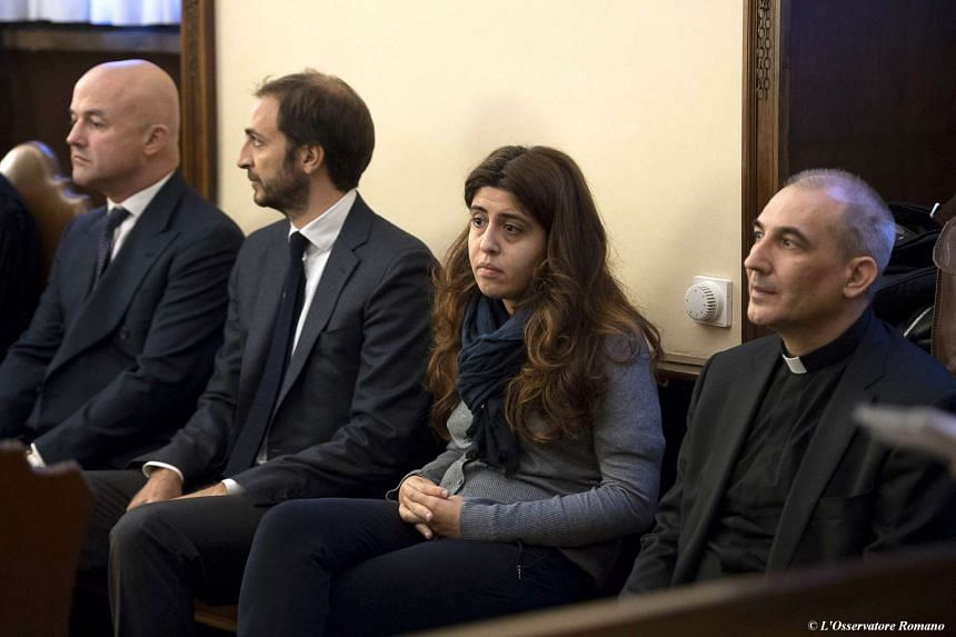 Four our of the five people on trial in the Vatican, including the two Italian reporters, (from left) Gianluigi Nuzzi and Emiliano Fittipaldi.