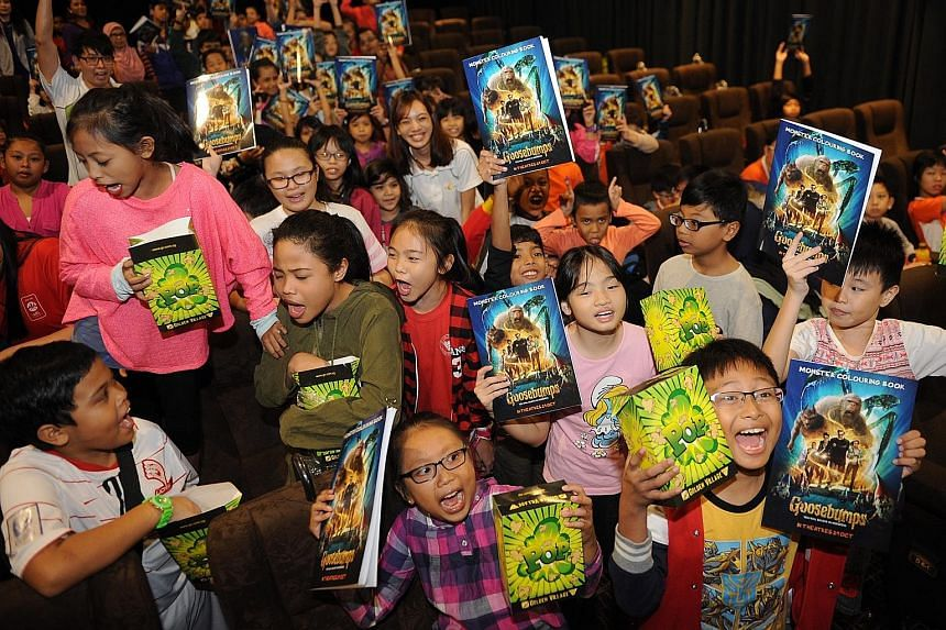 More than 100 kids received Goosebumps, of the happy sort, from Golden Village yesterday - they got to watch the movie and took home gifts as well, as part of the cinema chain's charity efforts.
