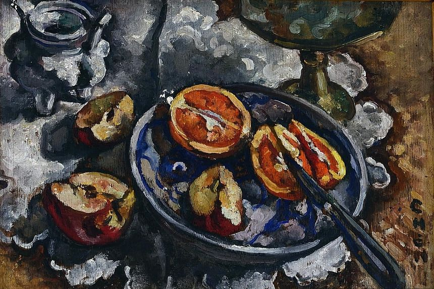 STILL LIFE WITH CUT APPLE AND ORANGE,1928 to 1930 (above): By Georgette Chen, oil on panel, 26cm by 34cm
