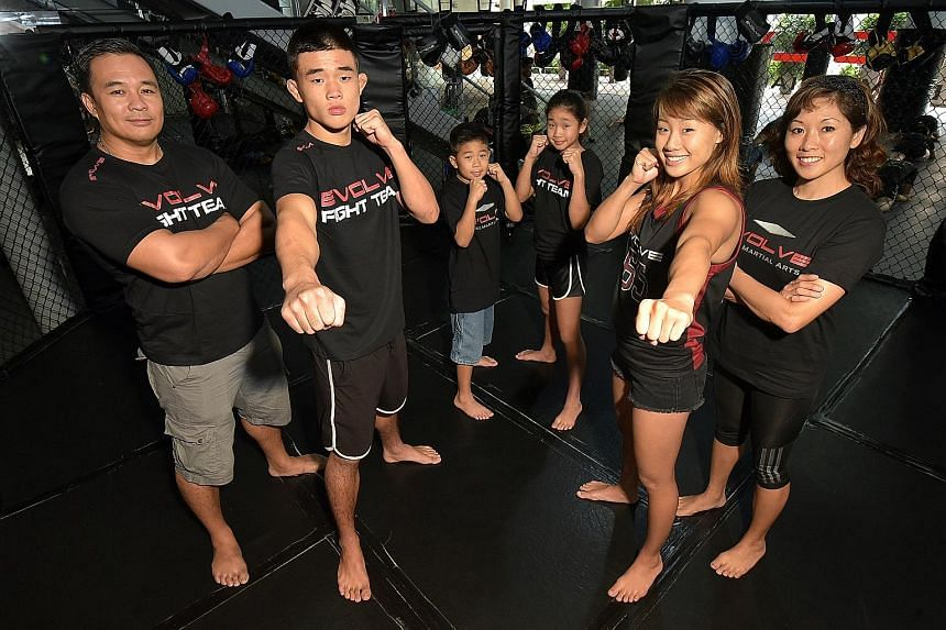 Angela Lee (second right) and brother Christian (second left) flanked by parents Ken and Jewelz, with younger siblings Adrian and Victoria, who are also learning the ropes.