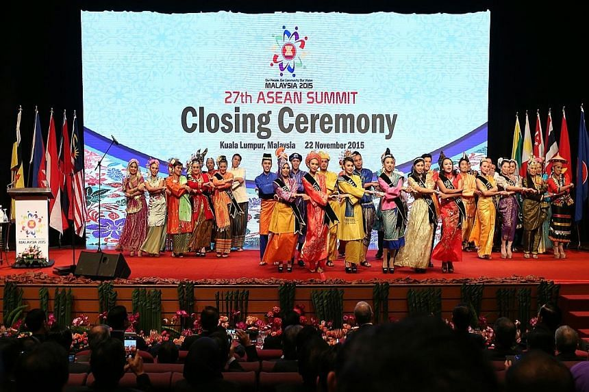 The closing ceremony of the Asean Summit in Kuala Lumpur on Sunday. The AEC officially comes into being on Dec 31.