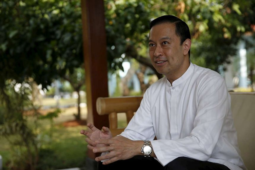 Indonesian Trade Minister Tom Lembong chats with members of the media during a visit to Rangkasbitung, near Jakarta.
