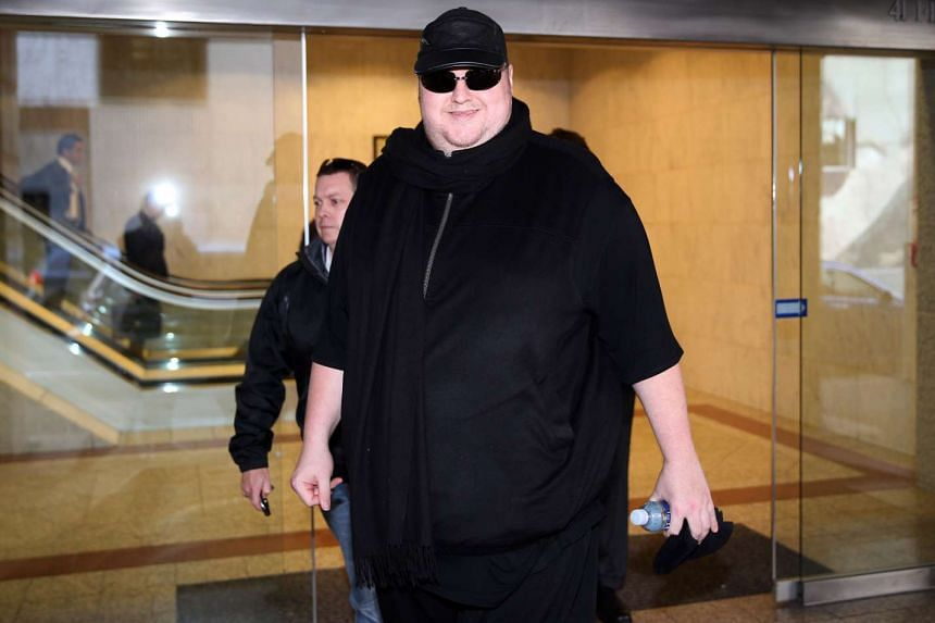 Kim Dotcom leaving court for the day after attending his extradition hearing in Auckland on Sept 24, 2015.