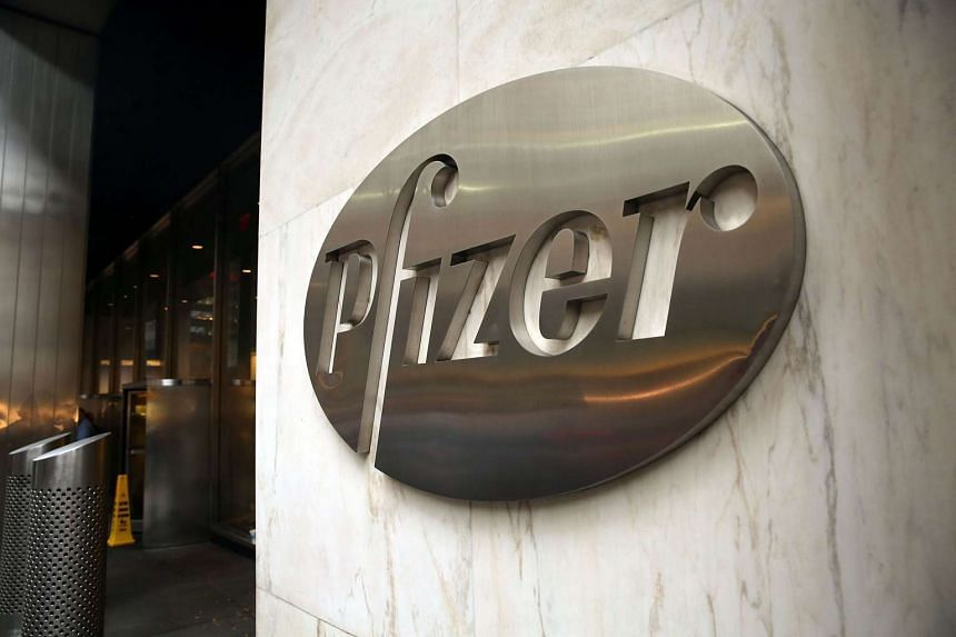 Pfizer Inc's corporate headquarters stand in midtown Manhattan.
