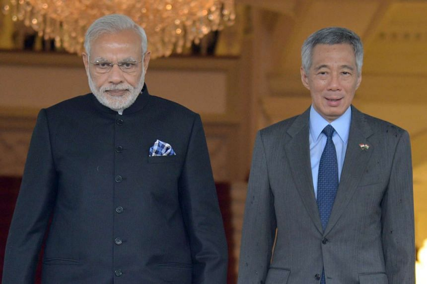 Indian Prime Minister Narendra Modi (left) with Prime Minister Lee Hsien Loong at the Istana on Nov 23.