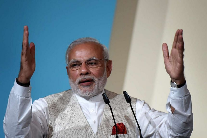 Indian Prime Minister Narendra Modi speaking at the 37th Singapore Lecture at the Shangri-La Hotel on Nov 22.