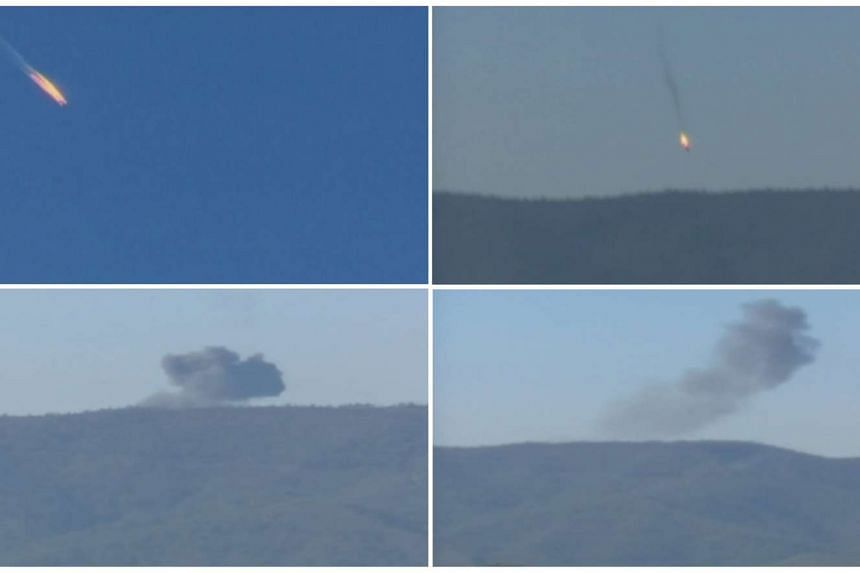 The plane crashing in a mountainous area in northern Syria.