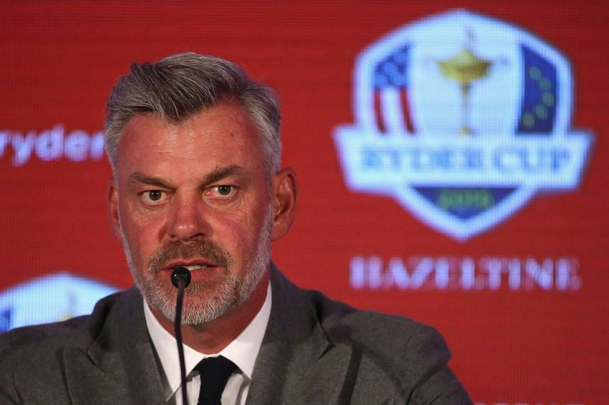 Darren Clarke addresses the media during the 2016 Ryder Cup Captains' Press Conference.