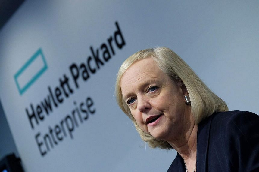 Hewlett-Packard Enterprise Chief Executive Officer (CEO) Meg Whitman speaks during a press conference in New York.