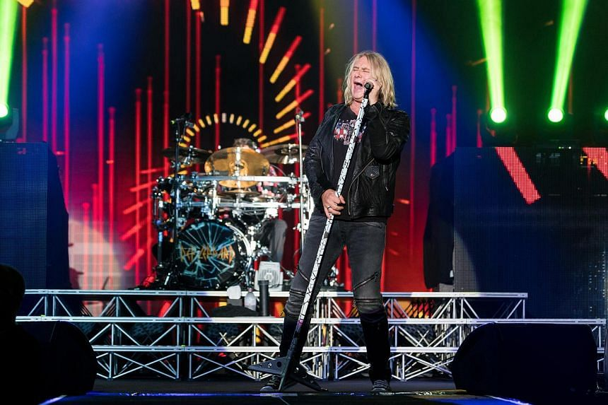 Def Leppard's lead vocalist Joe Elliott performing at Suntec Singapore Convention & Exhibition Centre, on Nov 24, 2015.