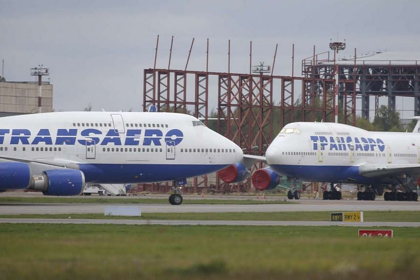 Transaero aircrafts parked at Moscow's Vnukovo airport, Russia.