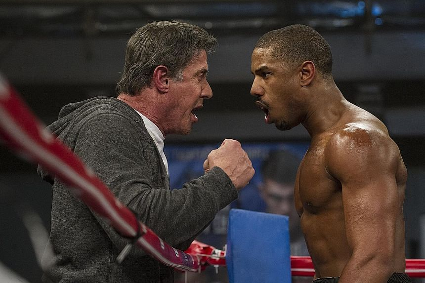Sylvester Stallone (above left) and Michael B. Jordan (above right) star in the new Rocky movie, Creed, directed by Ryan Coogler.
