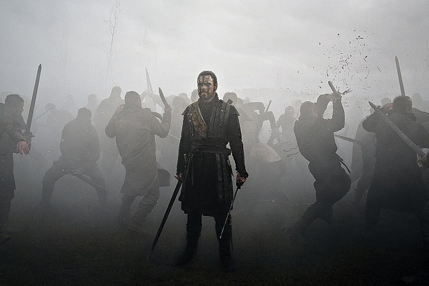 Michael Fassbender's Macbeth (above) stabs his way to the throne, while Michael B. Jordan's Adonis Creed punches his way there.