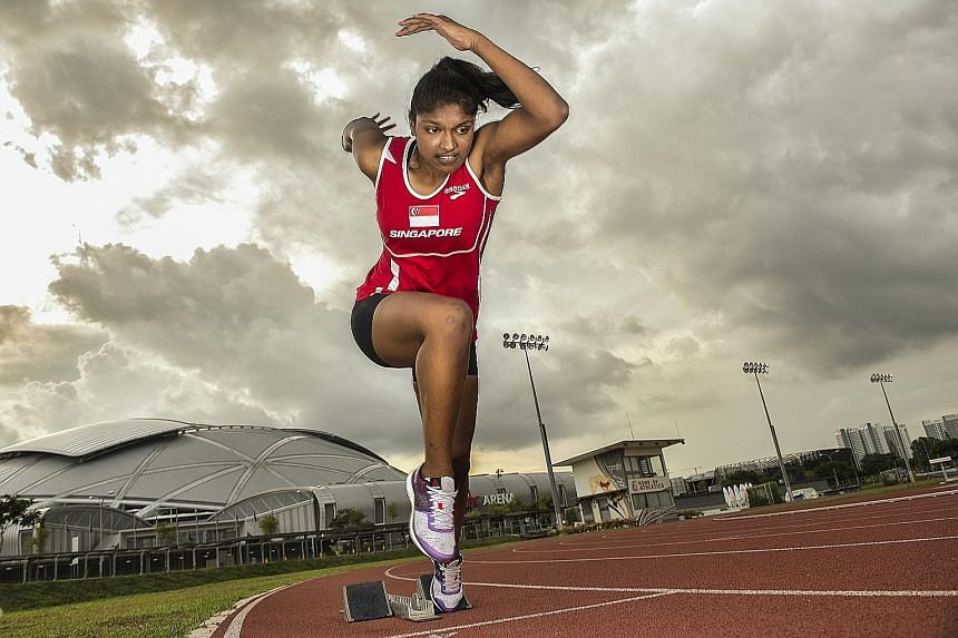 Born with an intellectual disability, Michelle Yogeswari, seen at Kallang Practice Track, took up running when she was 13. After her pet 100m and 200m events were dropped in June owing to a lack of entries, coach Muhammad Hosni modified her training