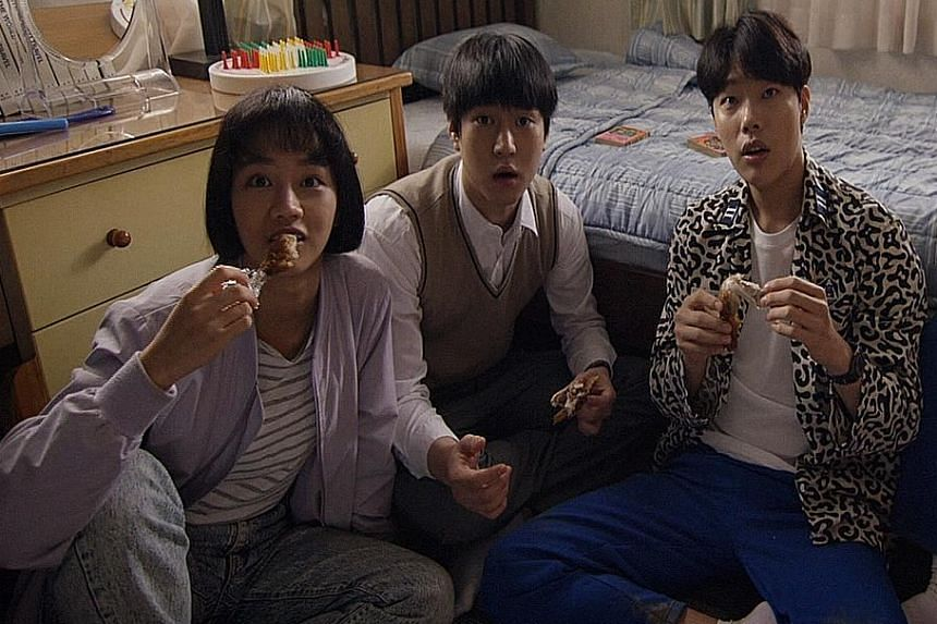 In Reply 1988, a love triangle between teen friends (from left, Hye Ri, Go Kyung Pyo and Ryu Jun Yeol) takes shape.