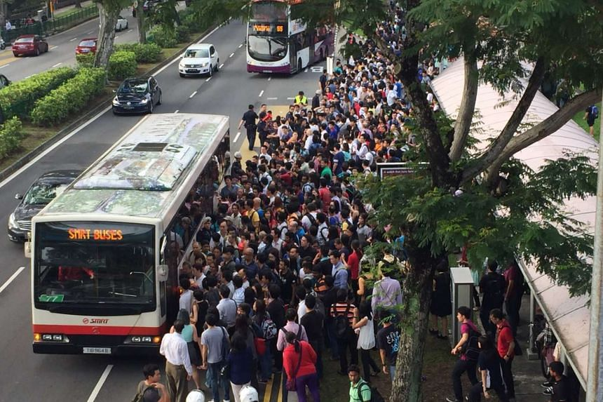 Commuter situation outside Bishan MRT station at 8am.