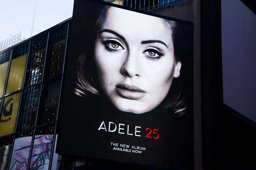 A view of a billboard for Adele's new album, 25 in New York.