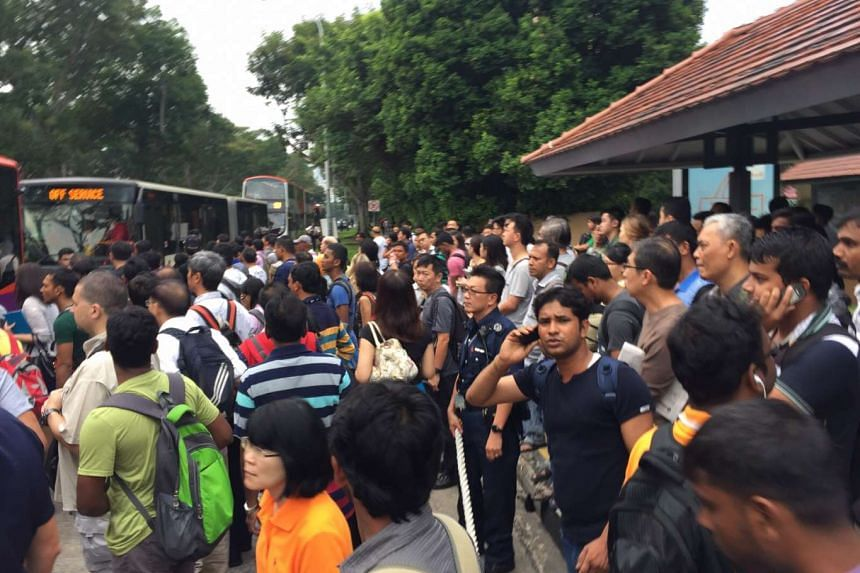Queues formed outside Bishan MRT.