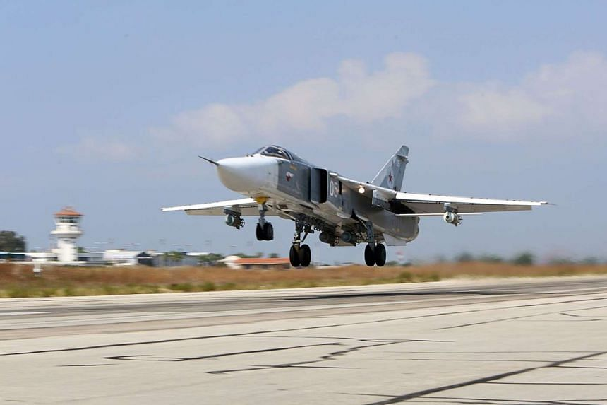 A Russian Sukhoi Su-24 bomber taking off in Syria.