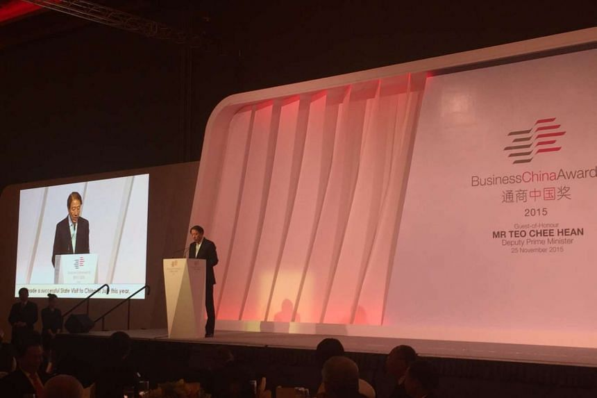 Deputy Prime Minister Teo Chee Hean speaking at the Business China Awards dinner at Resorts World Sentosa on Wednesday. PHOTO: CHONG KOH PING