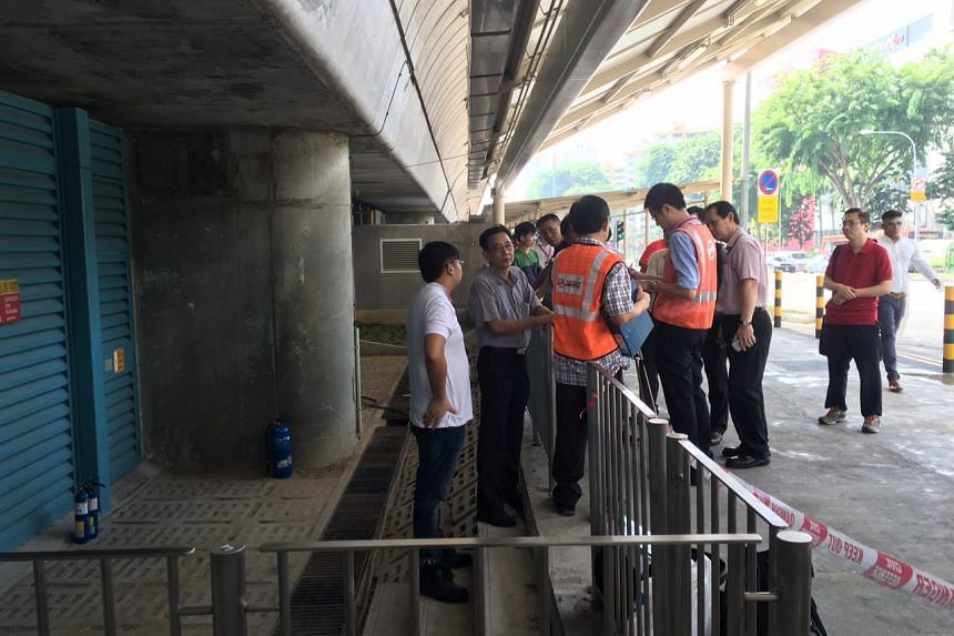 An electrical panel caught fire in a substation at Ang Mo Kio MRT station on Nov 25, 2015.