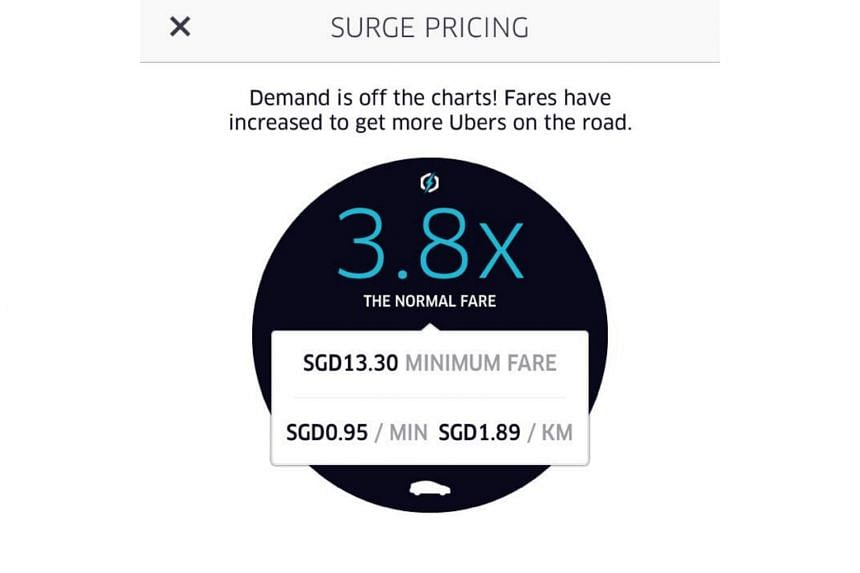 Uber's surge pricing on Wednesday morning due to a demand for taxis.