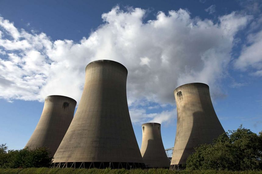 The cooling towers of the Drax coal-fired power station near Selby, northern England.