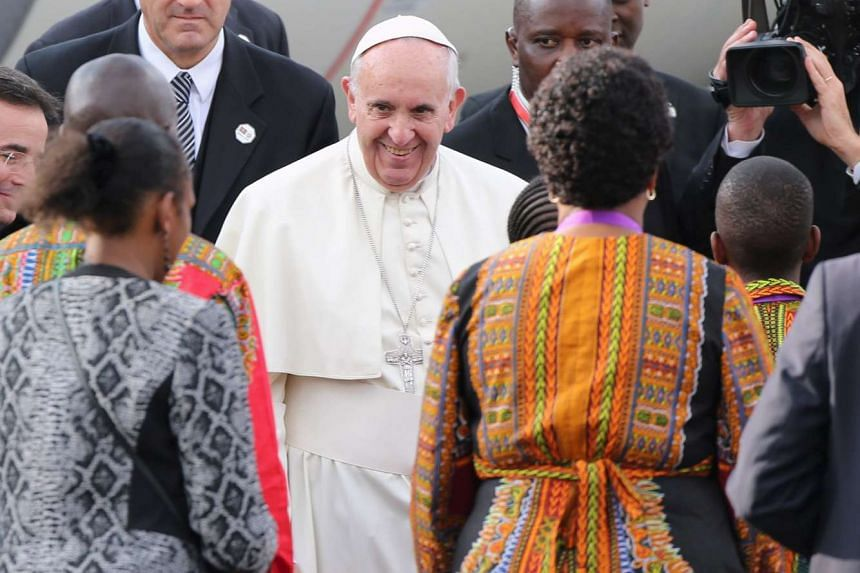 Pope Francis as he arrives for his first papal visit to the African Continent.