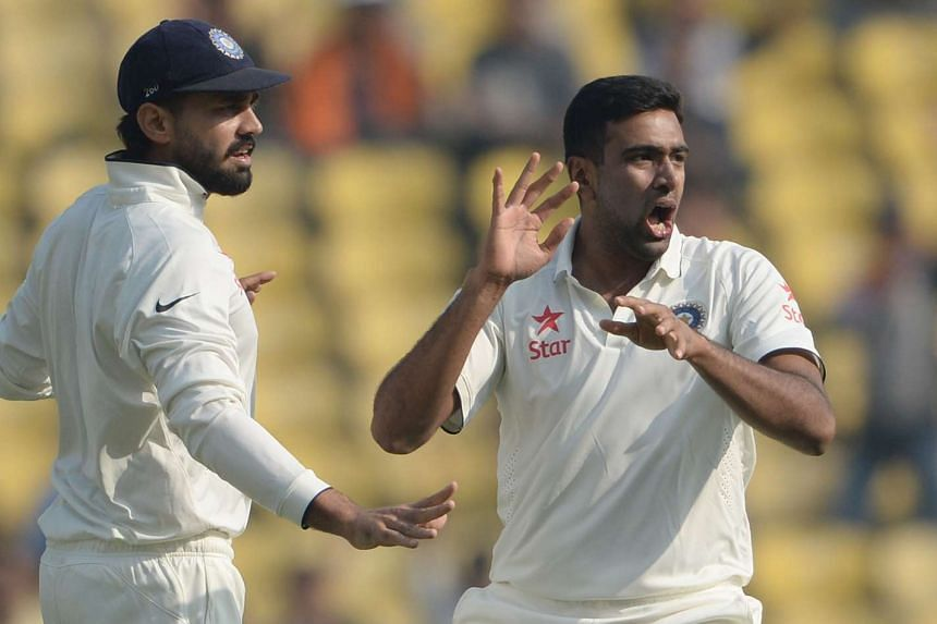 India's Ravichandran Ashwin (right) celebrates with teammate Murali Vijay on the second day of the third Test cricket match between India and South Africa on Nov 26, 2015.