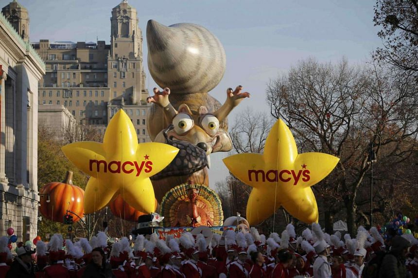 Floats gather on Central Park West prior to start of the 89th Macy's Thanksgiving Day Parade.