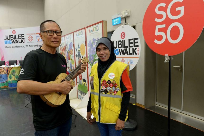Mr Ibrahim Longpoetih (left) and Ms Rashidah Umat will be taking part in the SG50 Jubilee Big Walk as a Eukelele player and marshall respectively.