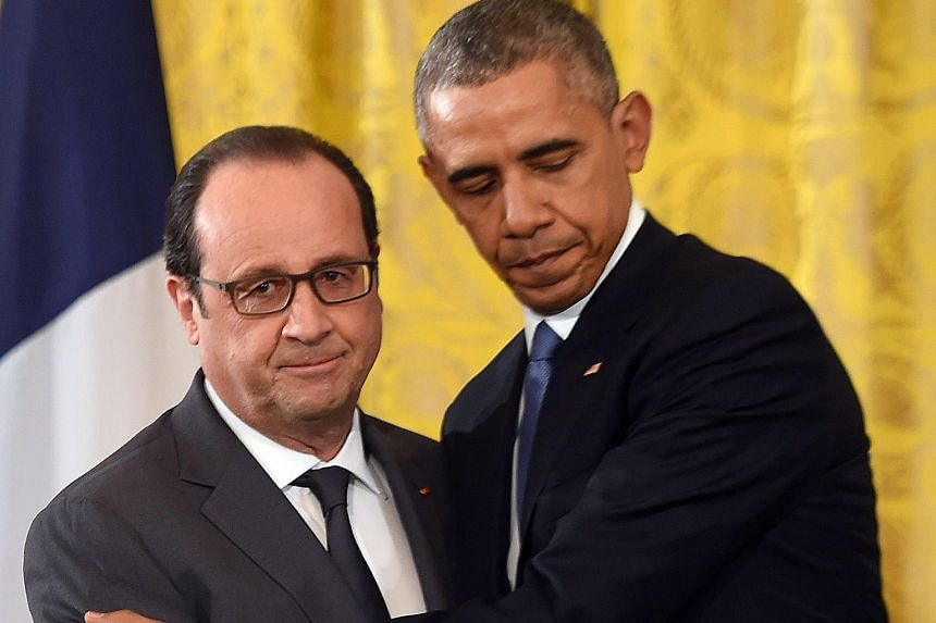 US President Barack Obama and his French counterpart Francois Hollande at the White House on Tuesday. Mr Hollande has been seeking international support against ISIS after the Paris attacks.